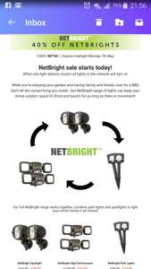 NetBright range lights 40%OFF with code