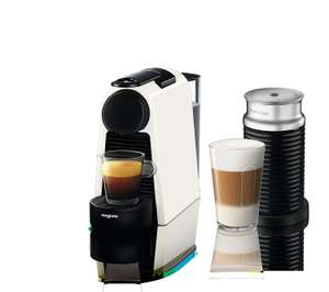 Nespresso Essenza Mini Coffee Machine with Aeroccino, Pure White by Magimix. Claim £60 vouchers for use against Pods.  Free PnP, sold by Amazon £82.99