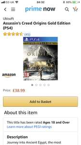 Assassins Creed Origins - Gold Edition - £38.99 Amazon Prime Now