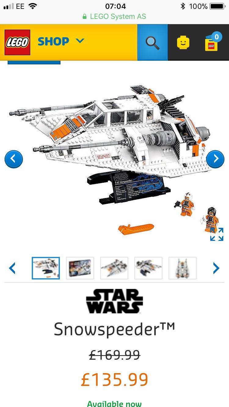 Lego Star Wars Snowspeeder 75144 - 20% Off £135.99 @ Lego Shop