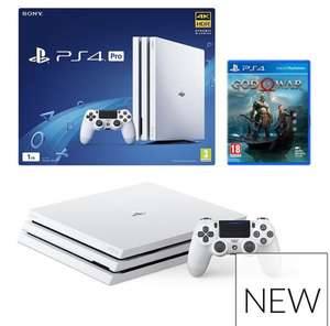 (PlayStation 4 ProWhite Console With God Of War £349) or Optional Extra Controller And/Or 12 MonthsPlayStation Network plus optional guarantee  £349.99 to £439.99 depending what options you choose @VERY