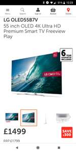LG OLED55B7V55 inch OLED 4K Ultra HD Premium Smart TV Freeview Play £1499 Richer Sounds