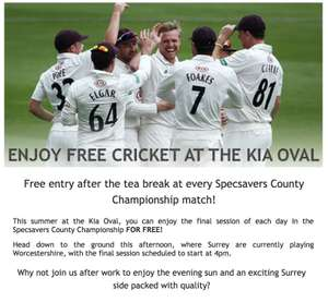 Free entry at the County ChampionShip Cricket Matches after tea @ Kia Oval(London)