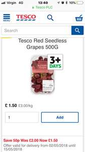 Tesco 500g red grapes for £1.50