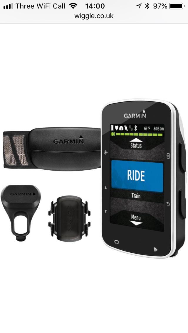 Garmin Edge 520 GPS Cycle computer with HRM, Speed and Cadence £184 @ Wiggle