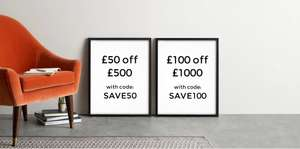 £50 off £500 or £100 off £1000 Spend on Furniture with Code @ Made