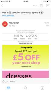 Spend £20 at Newlook and get £5 discount off your next order. Limited time. Check emails