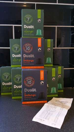 Dualit Nespresso Compatible Pods. Lungo and Intense Varieties. 50p for 10 in store @ Sainsburys