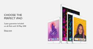 "2018 Apple iPad 9.7"", A10, iOS 11, Wi-Fi, 32GB with 3 year guarantee included £319 @ John Lewis"