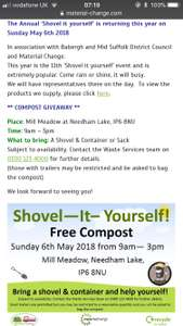 Free Compost- 6th May 2018 - Needham Market, Suffolk area