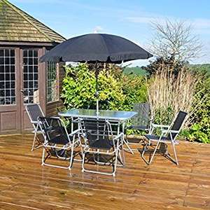 8 Piece Garden Furniture Patio Set inc. 6 x Chairs, Table and Parasol £121.36 @Amazon