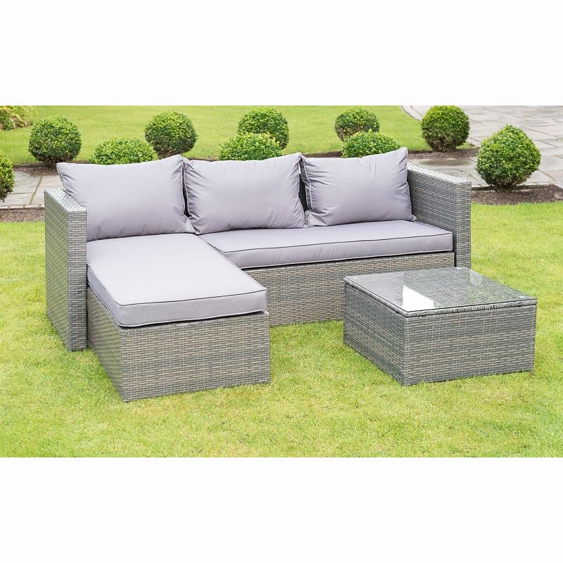 3pc seater grey rattan effect garden sofa / furniture £200 @ B&M
