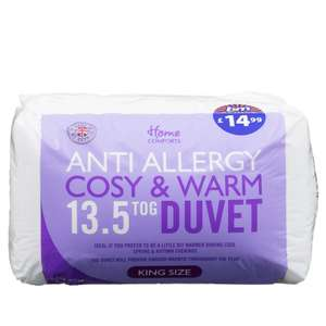 Anti-Allergy Duvet 13.5 Tog - £9.99-£14.99 for Single to Kingsize @ B&M Stores.