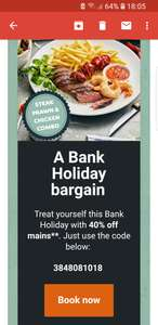 40% off Beefeater all Bank Holiday