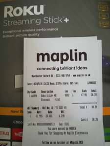 Roku streaming stick + £38.39 instore @ Maplin (Oxford Road, MCR)