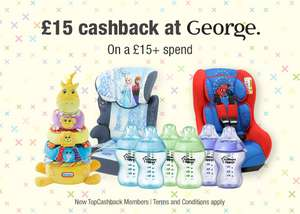 FREE £15 Spend at George. Up to £15 Cashback | New TopCashback Members Only