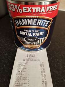 Hammerite Smooth Black Metal Paint 750ml £12 + 33% Extra Free in store at Tesco