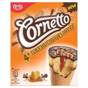 Cornetto Peanut Butter Love Ice Cream Cone 4 x 90ml just 79p at Heron foods