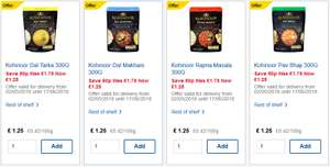 Kohinoor Ready Meals at Tesco for £1.25