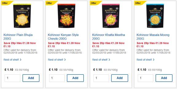 Kohinoor Snacks at Tesco for £1.10