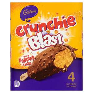 Cadbury Crunchie Blast Ice Creams 4 x 100ml (400ml) £3 / 2 PACKS £4 @ Iceland
