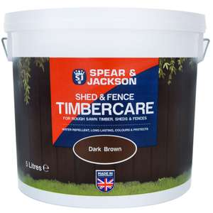 Spear & Jackson Shed & Fence Timbercare 5L - Dark Brown OR Red Cedar £3.19 @ B & M