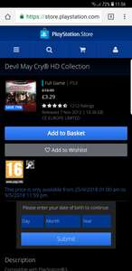 Devil may cry HD collection ps3 £3.29 - PSN