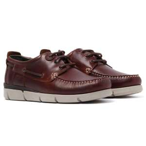 BARBOURGEORGE BROWN OILED LEATHER BOAT SHOES £29.98 @ Brown Bag Clothing