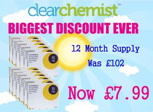 Best price for 12 month loratadine hayfever tablets £7.99 (+£2.99 del) @ ClearChemist