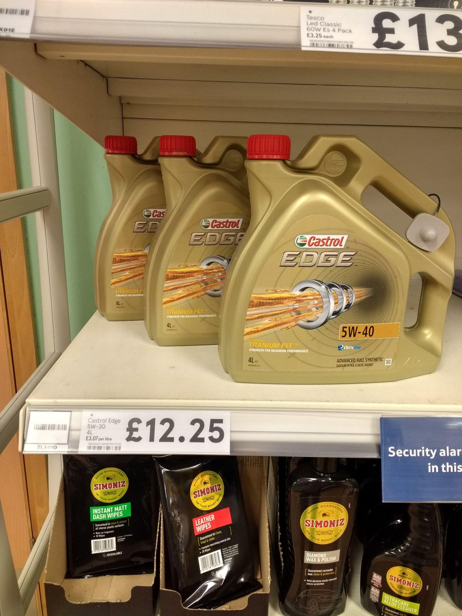 Castrol Edge 4l engine oil £12.75 Tesco in-store Bramley