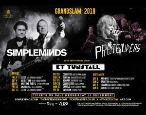 Four GOLD tickets to Grandslam Festivals (Simple Minds, Pretenders, KT Tunstall) £150 at Eventbrite