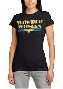 DC Comics Women's Official Wonder Woman Logo Crackle Crew Neck Short Sleeve T-Shirt amazon add on item minimum 20 pound spend required £5
