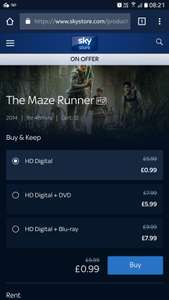 The Maze Runner only 99p via sky store - digital only