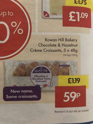 5 x chocolate and hazelnut creme croissants for 59p from Lidl  12th and 13th May