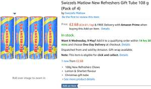 Swizzels Matlow New Refreshers Gift Tube 108g (Pack of 4) @ Amazon (Add-on Item)