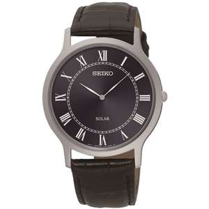 Seiko Solar Stainless Steel Black Leather Strap Watch (SUP867P1) £64.99 H Samuel