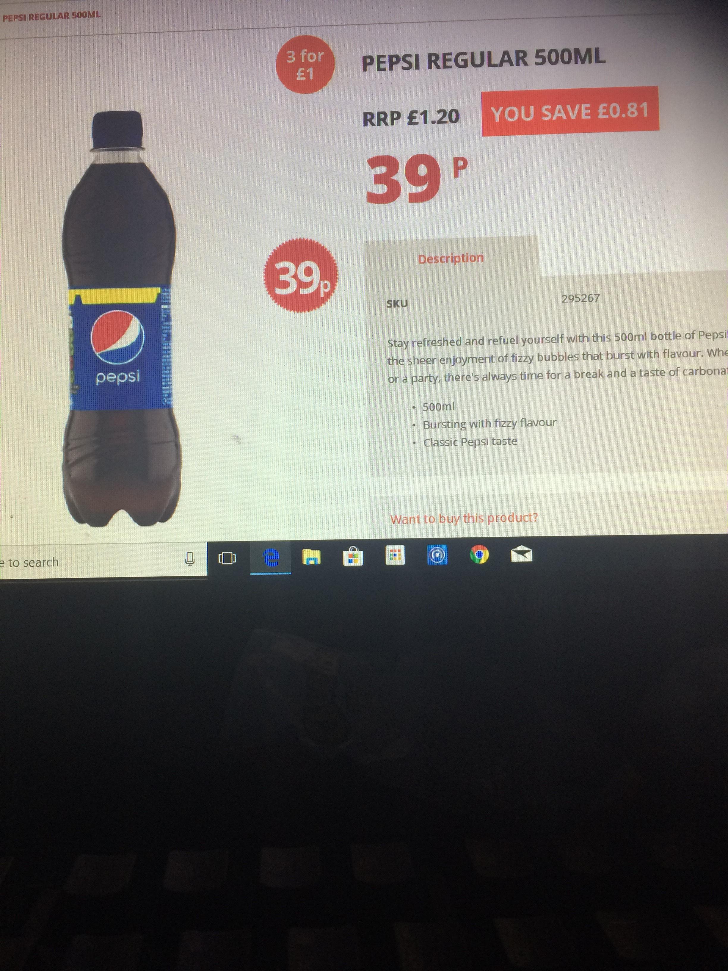 Pepsi Regular Bottle 500ml 3 for £1 @ Poundstretcher