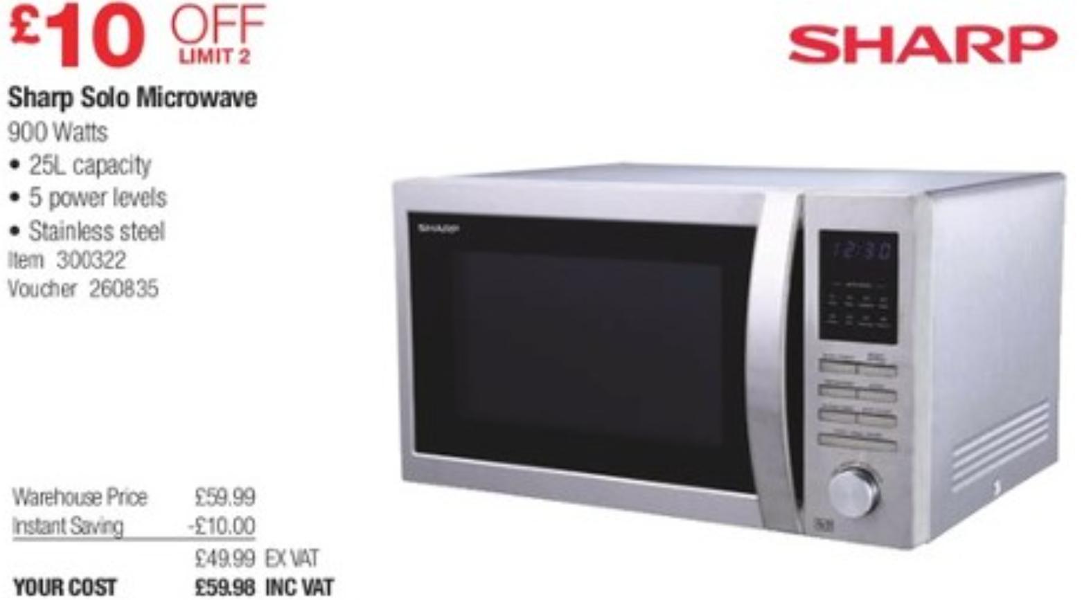 Sharp Solo Microwave 900w.. 25l £59.98 at Costco.