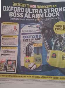 Free oxford alarm lock with MCN subscription £42.50 with code at greatmagazines