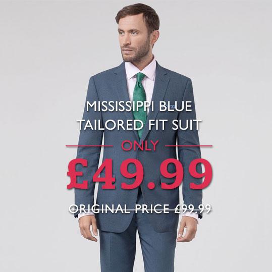Mississippi Blue Tailored Fit Suit HALF PRICE - £49.99 delivered @ Dobell Menswear