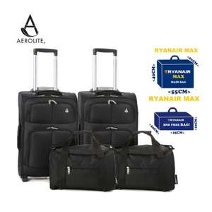 Aerolite Hand/Cabin Luggage 4 Piece Set – 2x 55x40x20cm 2 Wheel Suitcases + 2x 35x20x20cm Second Cabin Bags. Maximum sizes for Ryanair.  £59.99 delivered with a 10 year guarantee.