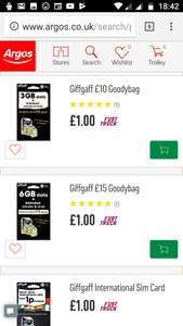 Giffgaff £15, £10 and International SIM GoodyBags £1 @ Argos