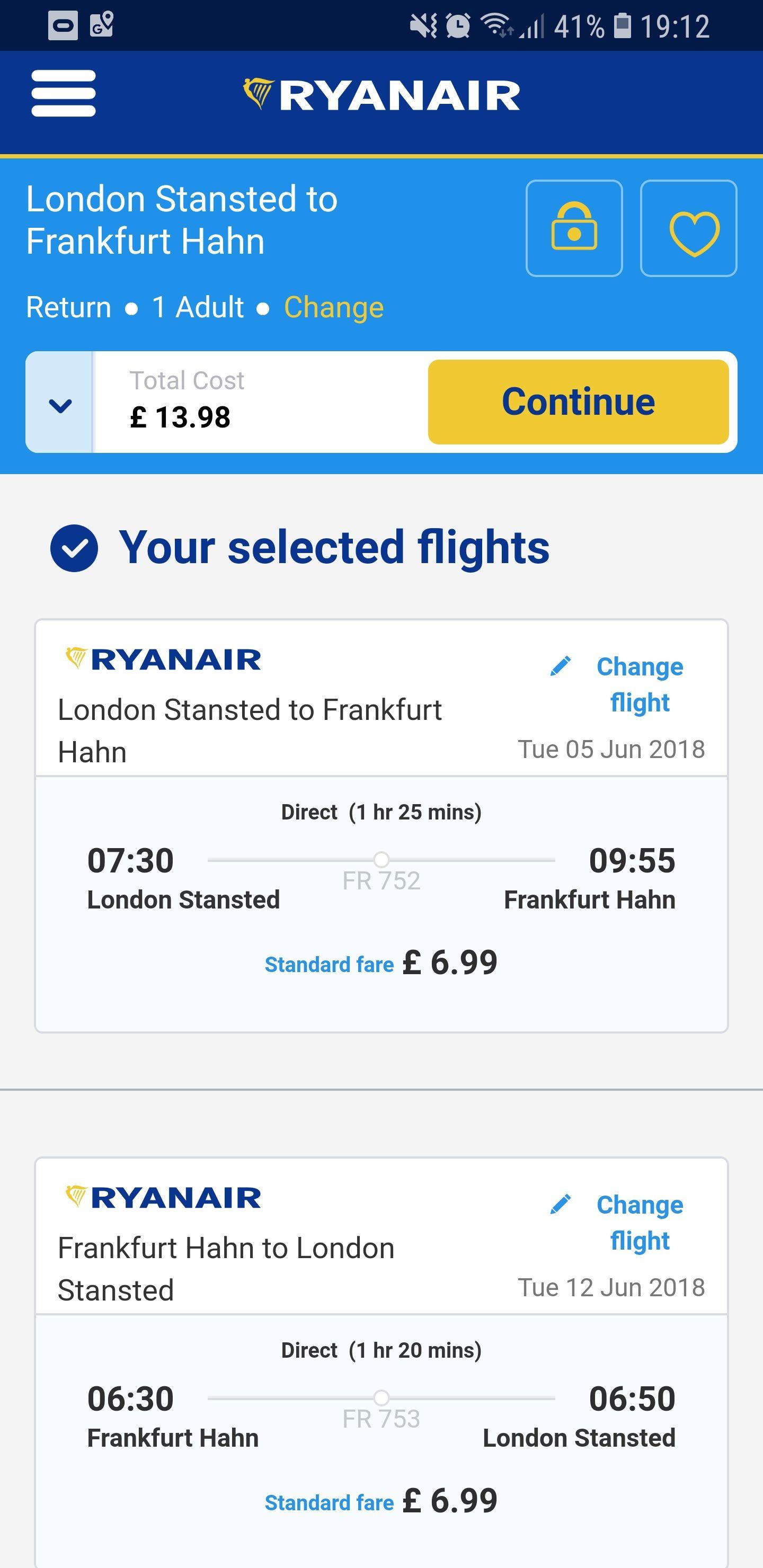 Ryanair return flight from Stansted to Frankfurt hahn £6.99 each way @ Ryanair