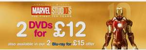 Marvel Studios  2 dvds for £12 or 2 blu rays for £15 iron man 2 and 3 , Thor, captain America+loads more @ HMV