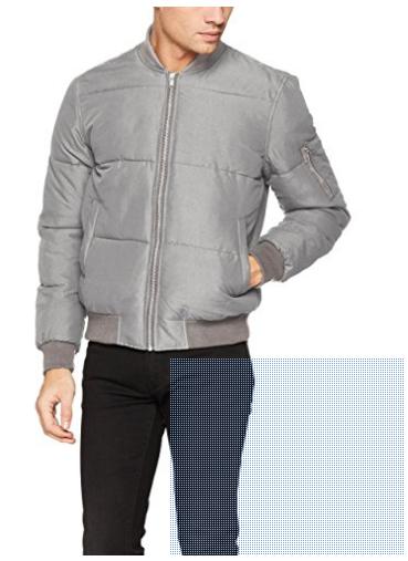 New Look Men's Puffer Bomber Jacket XS Light Grey £8.15 Prime £12.14 Non Prime @ Amazon
