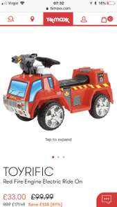 Toyrific Kids 6v fire engine electric Ride On £33 + £3.99 delivery / £1.99 c&c at TKmaxx