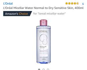 L'Oréal Micellar Water Normal to Dry Sensitive Skin, 400ml £3.99 add on item or S&S £3.39 at Amazon