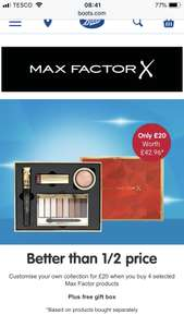 Max Factor Makeup Set (Worth up to £60) + Free Gift (Worth £30) for £20 at Boots Online