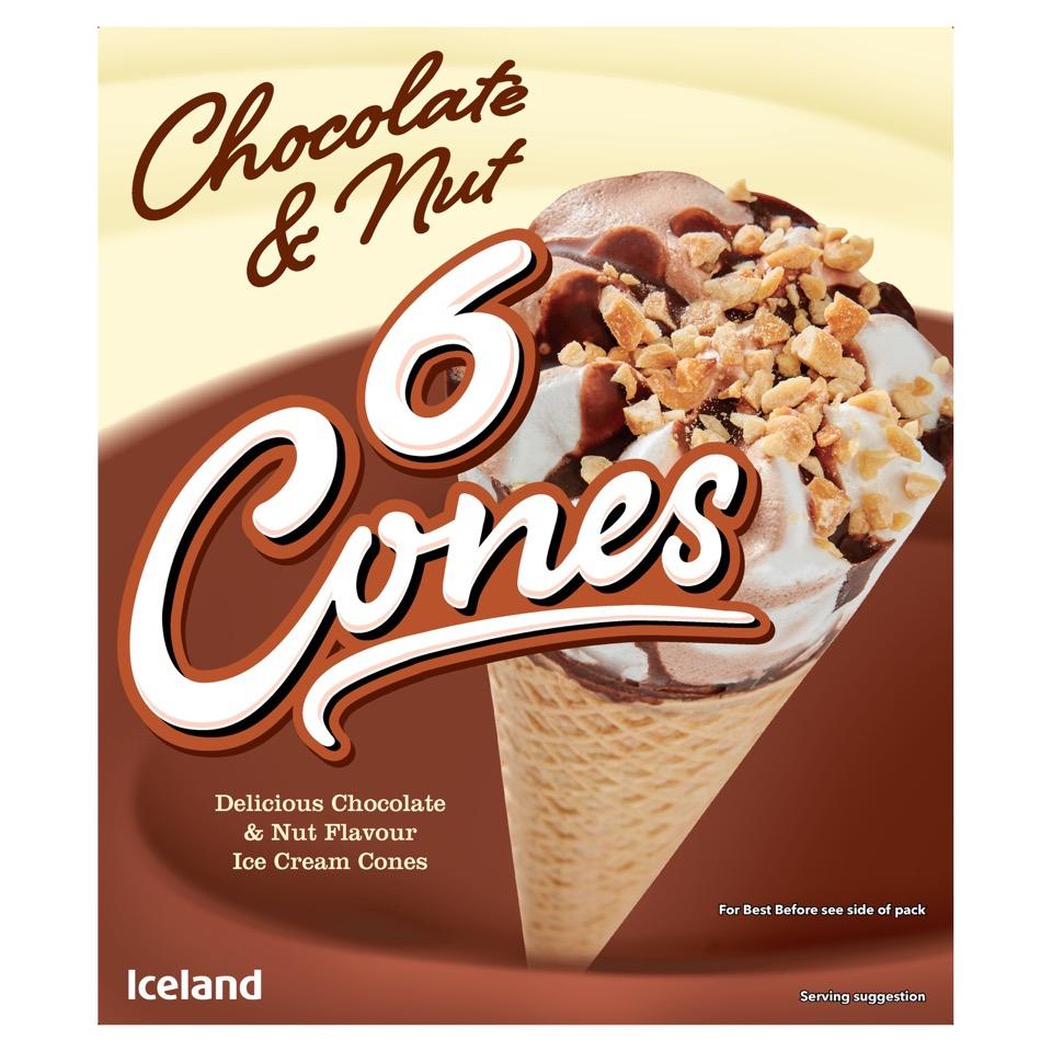 Iceland 6 Chocolate & Nut Cones 372g - £1