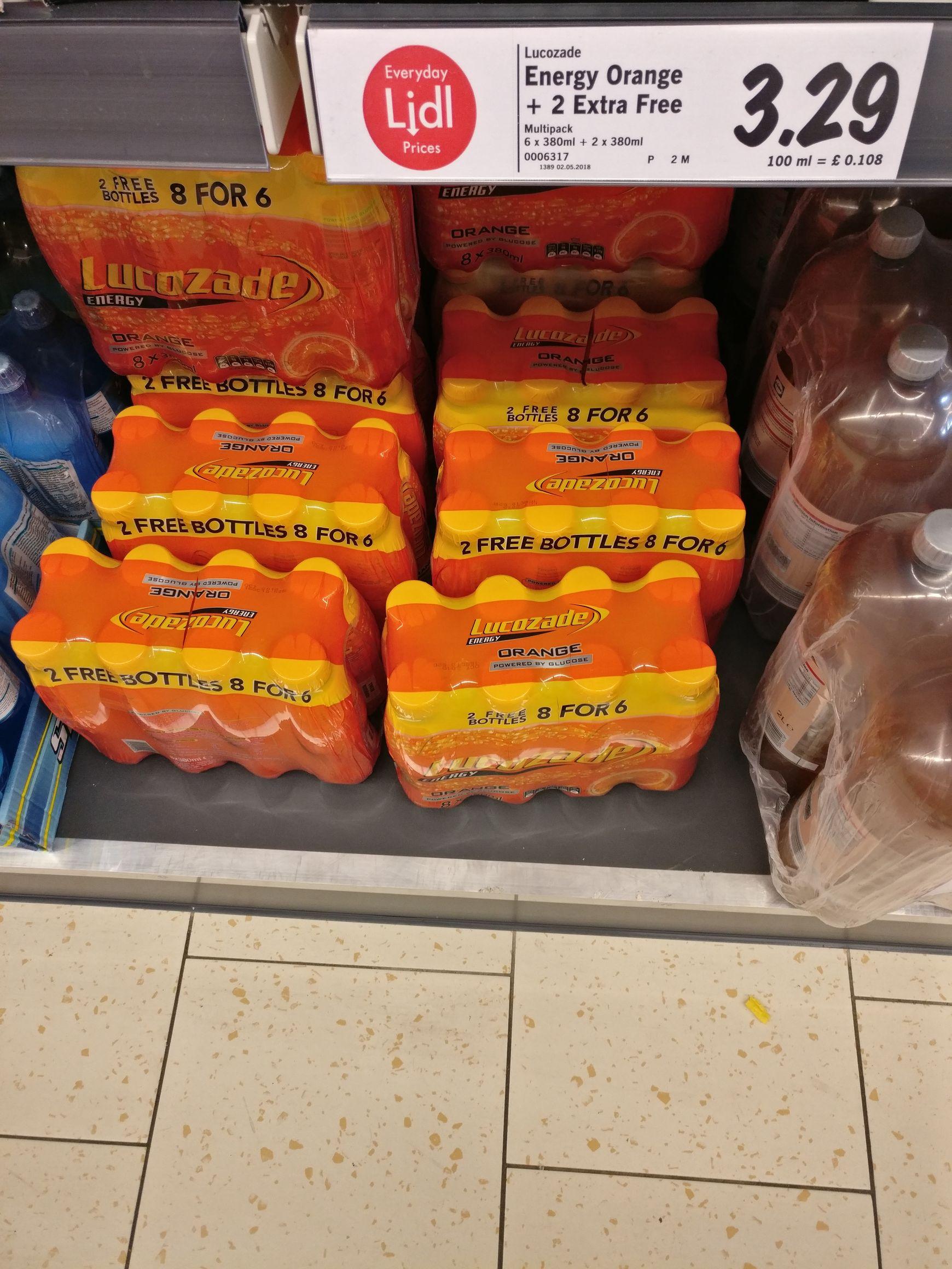 8 x 380ml lucozade bottles for £3.29 at Lidl instore